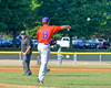 Cortland Crush David Murphy (8) throwing the ball to First Base for an out againt the Syracuse Junior Chiefs on Greg's Field in the NYCBL Eastern Division playoffs at Beaudry Park in Cortland, New York on Thursday, July 27, 2016. Syracuse won 18-4.