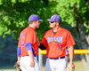 Cortland Crush Andrew Taft (32) talks with Stephan Witkowski (17) on Greg's Field in the NYCBL Eastern Division playoffs at Beaudry Park in Cortland, New York on Thursday, July 27, 2016. Syracuse won 18-4.