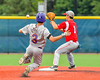 Cortland Crush Broderick Santilli (3) slides into Second Base against the Syracuse Junior Chiefs at OCC Turf Field in the NYCBL Eastern Division playoffs in Syracuse, New York on Thursday, July 28, 2016. Syracuse won 4-3.