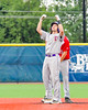 Cortland Crush Luke Gilbert (5) celebrates his Double against the Syracuse Junior Chiefs at OCC Turf Field in the NYCBL Eastern Division playoffs in Syracuse, New York on Thursday, July 28, 2016. Syracuse won 4-3.
