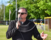 Cortland Crush Executive General Manager Garry VanGorder addresses the fans and team during the Opening Ceremonies for the 2017 Season on Greg's Field at Beaudry Park in Cortland, New York on Friday, June 2, 2017.