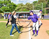 Cortland Crush Manager Bill McConnell greets Ms. Brooke Fullmer of College Suites Cortland after she threw out the first pitch on Greg's Field at Beaudry Park in Cortland, New York on Friday, June 2, 2017.