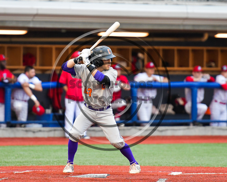 Cortland Crush Josh Reuter (23) at bat against the Syracuse Salt Cats at OCC Turf Field in Syracuse, New York on Monday, June 5, 2017.