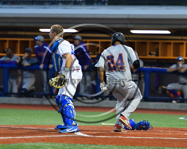 Cortland Crush Charles Edwards (24) scoring a run against the Syracuse Salt Cats at OCC Turf Field in Syracuse, New York on Monday, June 5, 2017.