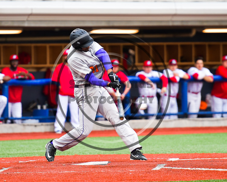 Cortland Crush David White (31) leans into a hit against the Syracuse Salt Cats at OCC Turf Field in Syracuse, New York on Monday, June 5, 2017.