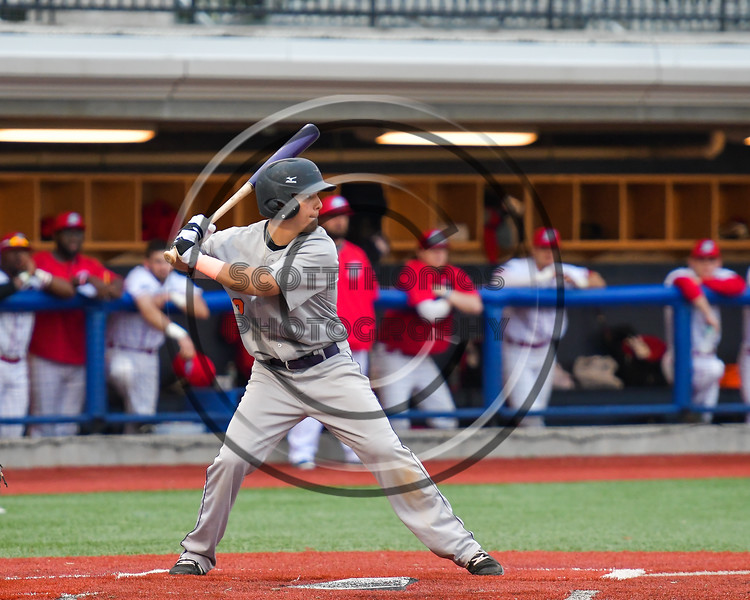 Cortland Crush Joe Assenza (2) at bat against the Syracuse Salt Cats at OCC Turf Field in Syracuse, New York on Monday, June 5, 2017.