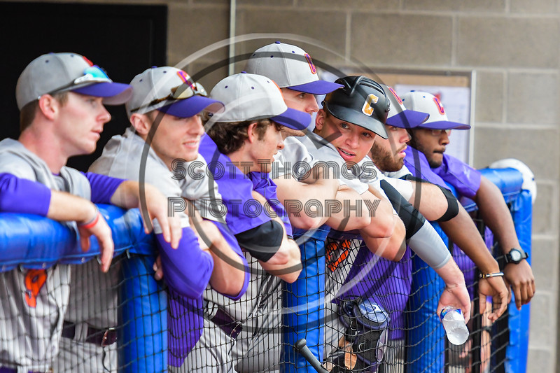Cortland Crush players watching the game from the dugout at the OCC Turf Field in Syracuse, New York on Monday, June 5, 2017.