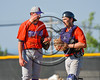 Cortland Crush Catcher Joseph Tevlin (12) talks with his pitcher during the game against the Syracuse Spartans at Dick Rockwell Field in Syracuse, New York on Sunday, June 11, 2017. Syracuse won 17-9.