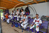 Cortland Crush players hanging out in the dugout before playing the Syracuse Salt Cats on Greg's Field at Beaudry Park in Cortland, New York on Saturday, June 17, 2017.
