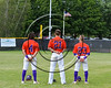 Cortland Crush players Dylan Ott (4), Tyler Schmidt (21) and Josh Reuter (23) during the National Anthem before playing the Sherrill Silversmiths on Greg's Field at Beaudry Park in Cortland, New York on Thursday, June 22, 2017.