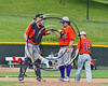 Cortland Crush TJ Wegmann (10) gving Pitcher Clayton Jeffries (8) a greeting before starting an inning against the Syracuse Spartans on Dick Rockwell Field at LeMoyne College in Syracuse, New York on Saturday, June 24, 2017. Cortland won 3-1.