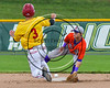 Cortland Crush Tyler Ault (1) getting the ball to attempt to tag Syracuse Spartans Jack Paulson (3) on Dick Rockwell Field at LeMoyne College in Syracuse, New York on Saturday, June 24, 2017. Cortland won 3-1.