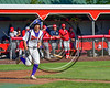 Cortland Crush Josh Reuter (23) after being walked by the Syracuse Salt Cats Pitcher Maxwell Bain (32, not pictured) at Wallace Field on the SUNY Cortland campus in Cortland, New York on Thuesday, June 27, 2017. Syracuse won 4-3.