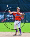 Cortland Crush Josh Reuter (23) throwing the ball for an out against the Olean Oilers at Wallace Field on the SUNY Cortland campus in Cortland, New York on Thuesday, July 2, 2017. Cortland w ...