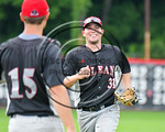 Olean Oilers Jimmy Webb (31) after getting the last out to end the inning against the Cortland Crush at Wallace Field on the SUNY Cortland campus in Cortland, New York on Thuesday, July 2, 2 ...