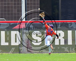 Cortland Crush Charles Edwards (24) tracks down a long fly ball for an out against the Olean Oilers at Wallace Field on the SUNY Cortland campus in Cortland, New York on Thuesday, July 2, 20 ...