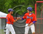 Cortland Crush Joseph Tevlin (12) gets a fist bump from Manager Bill McConnell against the Olean Oilers at Wallace Field on the SUNY Cortland campus in Cortland, New York on Thuesday, July 2 ...