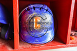 Cortland Crush batting helmet at Wallace Field on the SUNY Cortland campus in Cortland, New York on Thuesday, July 2, 2017.