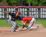 Cortland Crush Joe Assenza (2) steals Second Base against Olean Oilers Mike Magnanti (10) at Wallace Field on the SUNY Cortland campus in Cortland, New York on Thuesday, July 2, 2017. Cortla ...