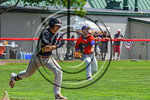 Cortland Crush Joseph Rogers (9) throwing the ball to get the Olean Oilers runner out at First Base at Wallace Field on the SUNY Cortland campus in Cortland, New York on Thuesday, July 2, 20 ...