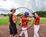 Cortland Crush Joe Assenza (2) is congratulated after scoring a run against the Olean Oilers at Wallace Field on the SUNY Cortland campus in Cortland, New York on Thuesday, July 2, 2017. Cor ...