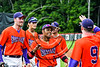 Cortland Crush Charles Edwards (24) gets congratulated after scoring a run against the Olean Oilers at Wallace Field on the SUNY Cortland campus in Cortland, New York on Thuesday, July 2, 2017. Cortland won 7-2.