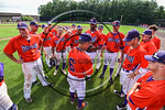 Cortland Crush Manager Bill McConnell talks with his team before an at bat against the Olean Oilers at Wallace Field on the SUNY Cortland campus in Cortland, New York on Thuesday, July 2, 20 ...