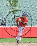 Cortland Crush Joe Assenza (2) tosses his bat after getting on base on balls against the Olean Oilers at Wallace Field on the SUNY Cortland campus in Cortland, New York on Thuesday, July 2,  ...