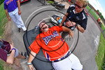 Cortland Crush Athletic Trainer Anthony Spinelli working on Pitcher Clayton Jeffries (8) at Wallace Field on the SUNY Cortland campus in Cortland, New York on Thuesday, July 2, 2017.