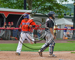Cortland Crush Joe Assenza (2) scores a run against the Olean Oilers at Wallace Field on the SUNY Cortland campus in Cortland, New York on Thuesday, July 2, 2017. Cortland won 7-2.