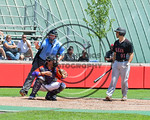 Olean Oilers player is called for his third strike against the Cortland Crush at Wallace Field on the SUNY Cortland campus in Cortland, New York on Thuesday, July 2, 2017. Cortland won 7-2.