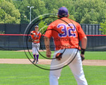 Cortland Crush Tyler Schmidt (21) throwing the ball for an out at First Base against the Olean Oilers at Wallace Field on the SUNY Cortland campus in Cortland, New York on Thuesday, July 2,  ...