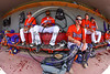 Cortland Crush players in the dugout before playing the Olean Oilers at Wallace Field on the SUNY Cortland campus in Cortland, New York on Thuesday, July 2, 2017.