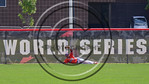 Cortland Crush Charles Edwards (24) holds up the ball after hitting the fence to catch the ball for an out against the Olean Oilers at Wallace Field on the SUNY Cortland campus in Cortland,  ...