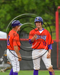 Cortland Crush Joseph Tevlin (12) talks with Manager Bill McConnell at Third Base against the Olean Oilers at Wallace Field on the SUNY Cortland campus in Cortland, New York on Thuesday, Jul ...