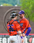 Cortland Crush Catcher Justin Valentino (26) talks with Joshua Delaney (39) on the mound against the Olean Oilers at Wallace Field on the SUNY Cortland campus in Cortland, New York on Thuesd ...