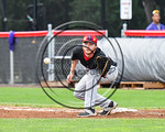 Olean Oilers First Baseman about to catch the ball for an out against the Cortland Crush at Wallace Field on the SUNY Cortland campus in Cortland, New York on Thuesday, July 2, 2017. Cortlan ...