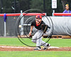 Olean Oilers First Baseman about to catch the ball for an out against the Cortland Crush at Wallace Field on the SUNY Cortland campus in Cortland, New York on Thuesday, July 2, 2017. Cortland won 7-2.