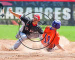 Cortland Crush Alex Flock (11) steals Second Base against Olean Oilers Mike Magnanti (10) at Wallace Field on the SUNY Cortland campus in Cortland, New York on Thuesday, July 2, 2017. Cortla ...