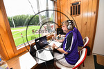 Cortland Crush broadcasting team working the game against the Olean Oilers at Wallace Field on the SUNY Cortland campus in Cortland, New York on Thuesday, July 2, 2017. Cortland won 7-2.