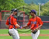 Cortland Crush Ledwin Nunez (36) gets congratulated by Justin Valentino (26) after ending the game against the Olean Oilers at Wallace Field on the SUNY Cortland campus in Cortland, New York on Thuesday, July 2, 2017. Cortland won 7-2.