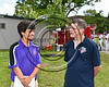 Cortland Crush Broadcaster Skyler Lebron interviewing NYCBL President Steve Pindar at Wallace Field on the SUNY Cortland campus in Cortland, New York on Tuesday, July 4, 2017.