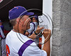 Cortland Crush Manager Bill McConnell finishing up the starting roster before the game against the Syracuse Spartans at Wallace Field on the SUNY Cortland campus in Cortland, New York on Tuesday, July 4, 2017.