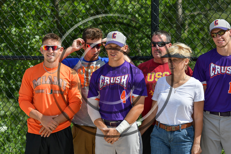 Cortland Crush players and their families before playing the Syracuse Salt Cats at OCC Turf Field in Syracuse, New York on Saturday, July 8, 2017.