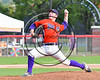 Cortland Crush Joseph Rogers (9) pitching against the Wellsville Nitros at Wallace Field on the SUNY Cortland campus in Cortland, New York on Friday, July 21, 2017. Cortland won 6-5 in 10 innings.