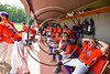 Cortland Crush players in the dugout during the game against the Sherrill Silversmiths at Wallace Field on the SUNY Cortland campus in Cortland, New York on Sunday, July 23, 2017. Cortland won 7-2.