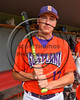 Cortland Crush Daniel Hayden (17) in the dugout during the game against the Sherrill Silversmiths at Wallace Field on the SUNY Cortland campus in Cortland, New York on Sunday, July 23, 2017. Cortland won 7-2.