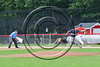 Cortland Crush Dylan Ketch (14) beats the throw to First Base against the Sherrill Silversmiths at Wallace Field on the SUNY Cortland campus in Cortland, New York on Sunday, July 23, 2017. Cortland won 7-2.
