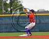 Cortland Crush Josh Reuter (23) turning a Double Play against the Syracuse Spartans at OCC Turf Field in Syracuse, New York on Monday, July 24, 2017. Syracuse won 3-2 in 10 innings.