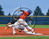Cortland Crush Charles Edwards (24) is out at First Base against the Syracuse Spartans at OCC Turf Field in Syracuse, New York on Monday, July 24, 2017. Syracuse won 3-2 in 10 innings.